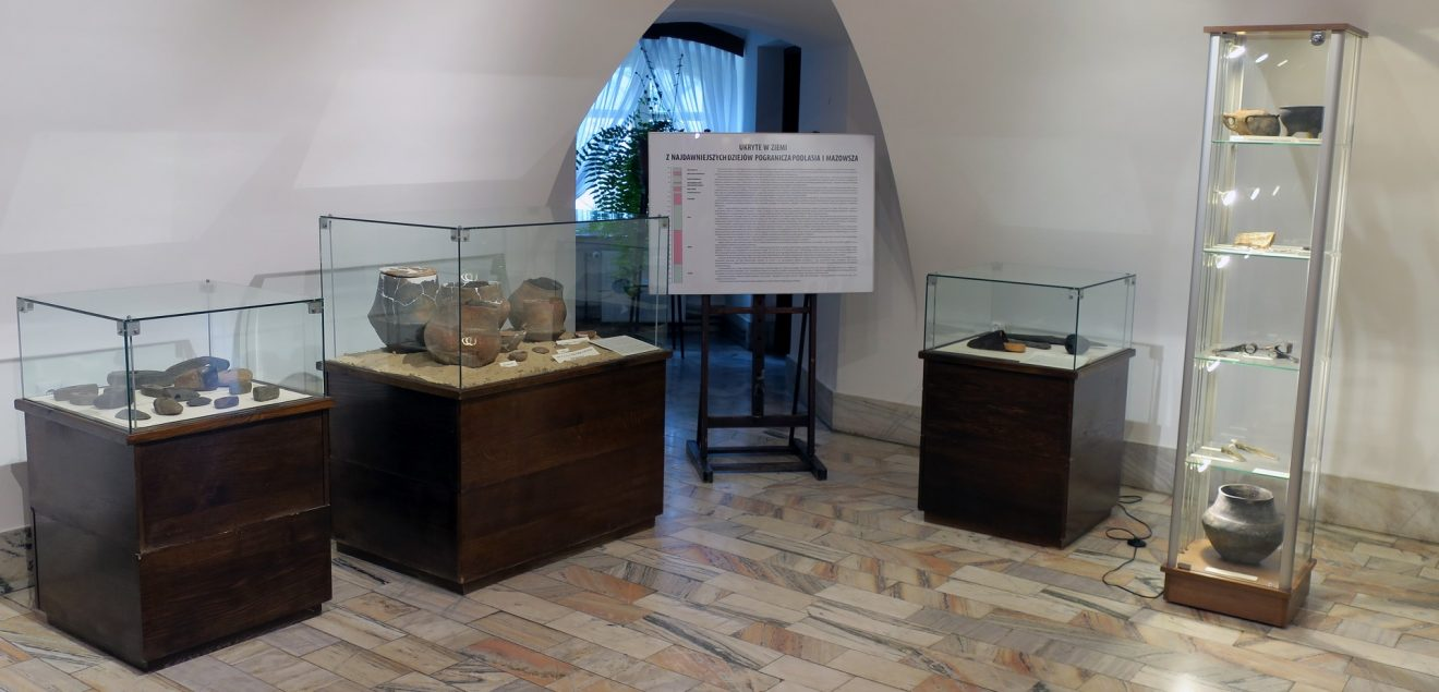 Cztery gabloty z eksponatami archeologicznymi
