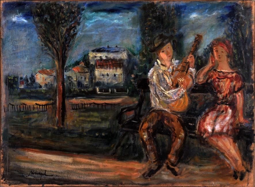 Emil Schinagel - Na ławce w parku, I poł. XX w., olej, płótno, 73x54 cm, fot. Andrzej Ruciński