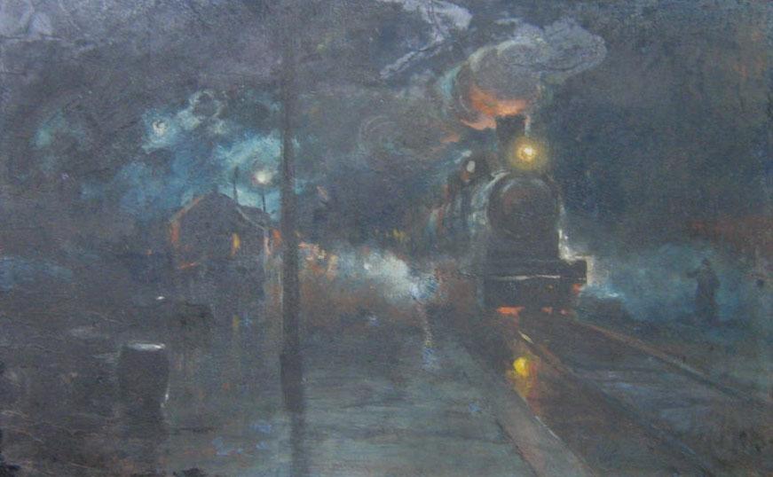 Kolej wiedeńska, 1925 r., gwasz, tektura, 39,2x61,9 cm, fot. Andrzej Ruciński