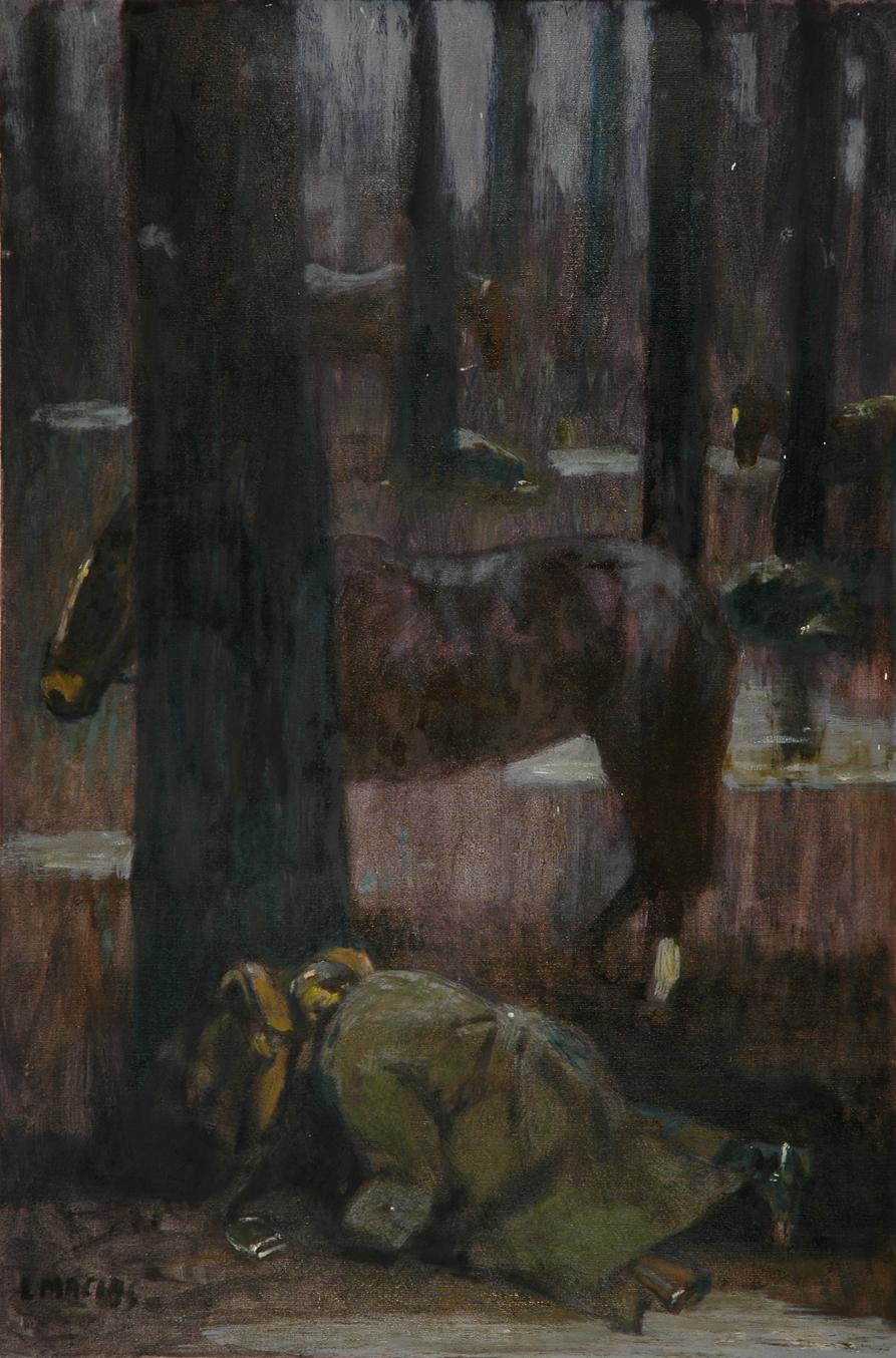 Noc w lesie, 2003 r., olej, płótno, 120x80 cm, fot. Andrzej Ruciński