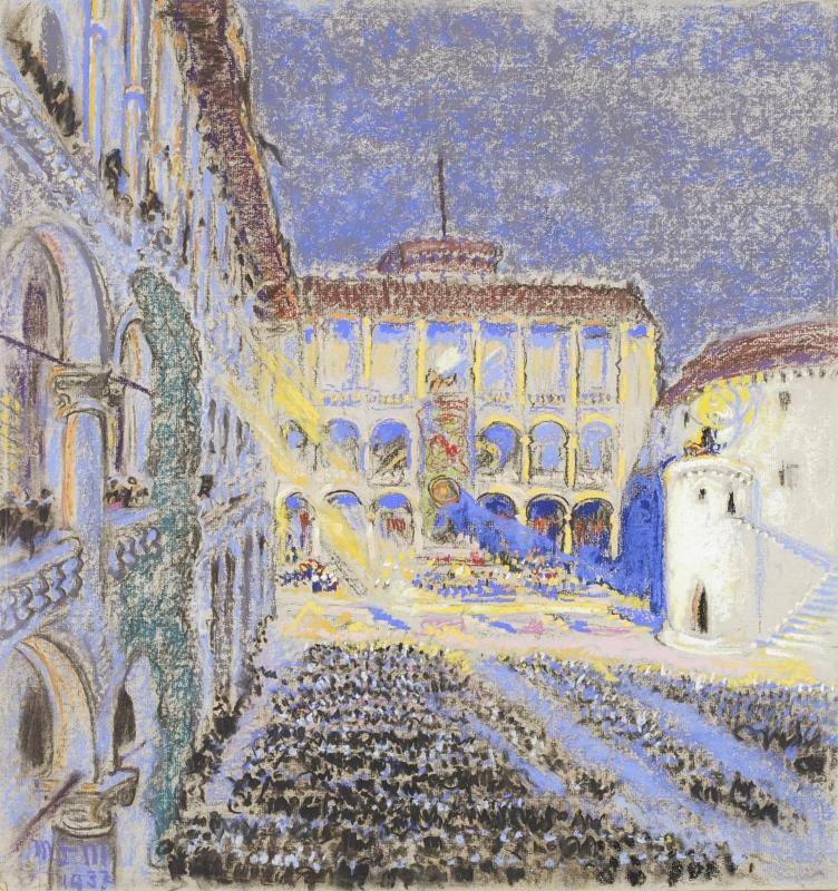 Magdalena Łada-Maciągowa Wawel – dziedziniec w czasie uroczystości kopernikowskich, 1937 r.