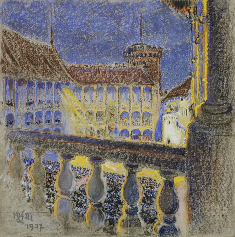 Małgorzata Łada-Maciągowa Wawel w nocy, 1937 r., pastel, papier, 53x53 cm, fot. Piotr Jaworek
