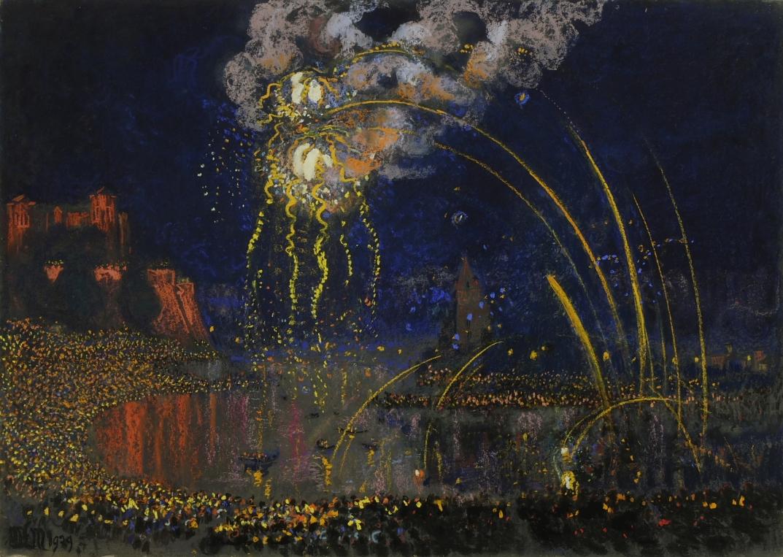 Wianki w nocy, 1929 r., pastel, papier, 68x97 cm, fot. Piotr Jaworek