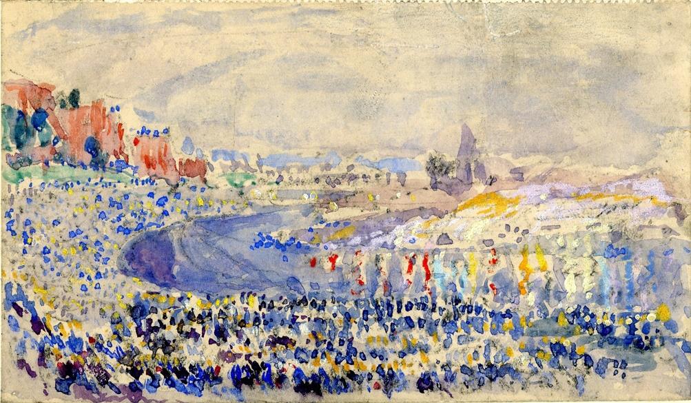 Wianki w nocy - szkic do kompozycji, 1929 r., akwarela, papier, 10x17 cm, fot. Krzysztof Cabaj