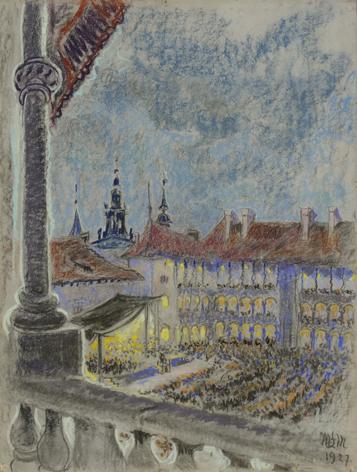 Małgorzata Łada-Maciągowa Pierwszy festiwal na Wawelu, pastel, ołówek, papier, tektura, 64,5x49 cm, fot. Piotr Jaworek