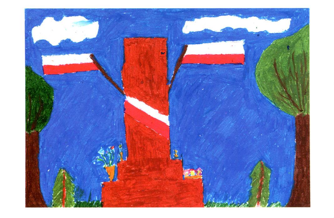 """praca laureatki powiatowego konkursu plastycznego Julii Orzyłowskiej pt. """"Pomnik Wolności"""""""