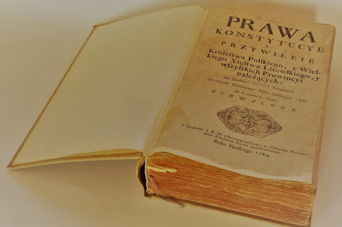 strona tytułowa starodruku Prawa, konstytucye y przwileie Królestwa Polskiego y Wielkiego Xięstwa Litewskiego