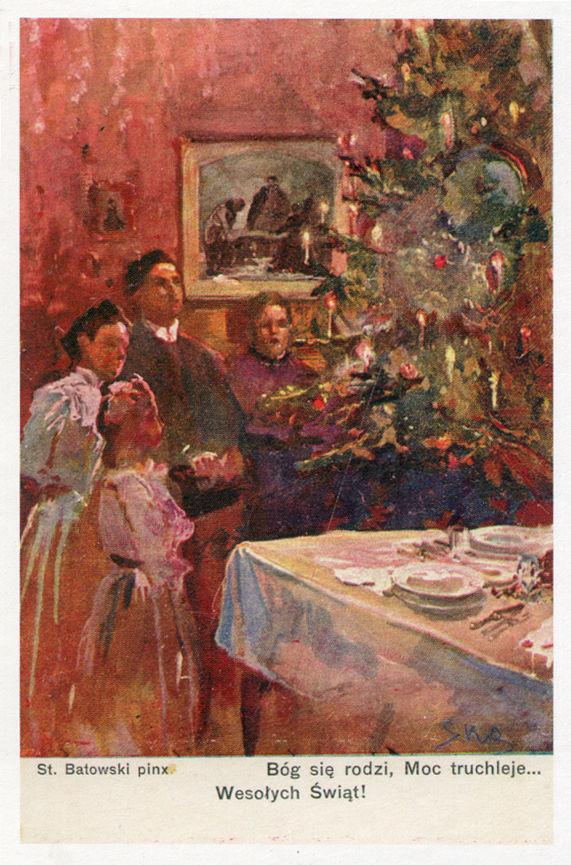 """Reprodukcja pocztówki przedwojennego wyd. """"Stella"""" w Bochni według obrazu Stanisława Batowskiego (1866-1946)"""