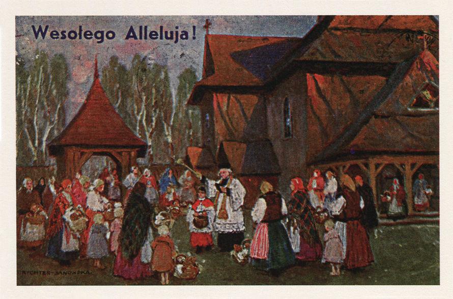 """Reprodukcja pocztówki wydanej nakładem """"Ludowa Sztuka w obrazach"""" według obrazu Bronisława Rychter-Janowskiej (1868-1953)"""