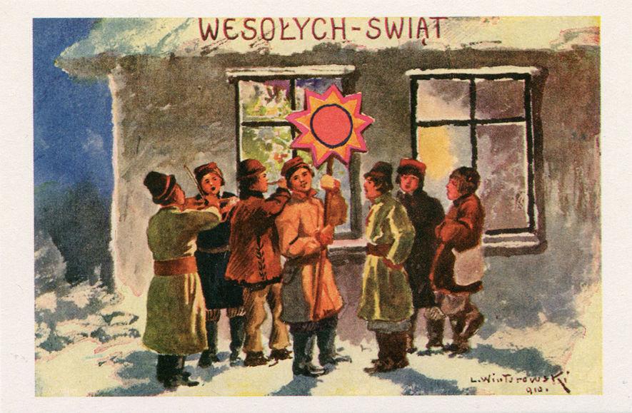 Reprodukcja przedwojennej pocztówki wydanej według obrazu prof. Leonarda Winterowskiego (1868-1927)