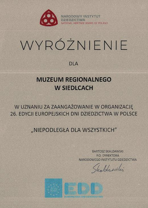 Dyplom wyróżnienia za organizację Europejskich Dni Dziedzictwa