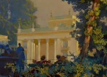 Pałac w Łazienkach Królewskich w otoczeniu drzew