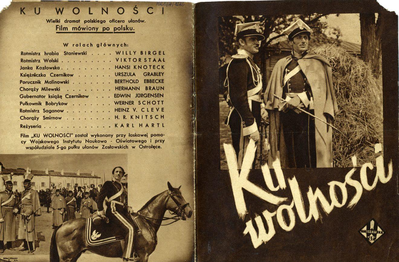 Broszura reklamowa w sepii ze zdjęciami różnych ujęć z filmu oraz tekst