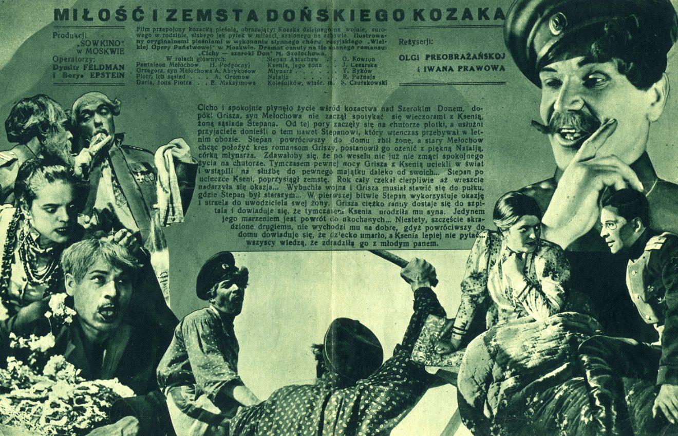 Osoby z rosyjskich strojach ludowych oraz tekst
