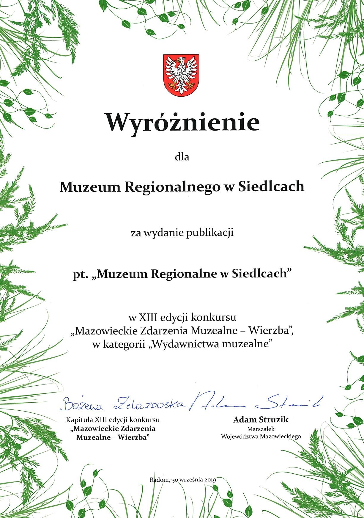 Dyplom wyróżnienia za publikację Muzeum Regionalne w Siedlcach