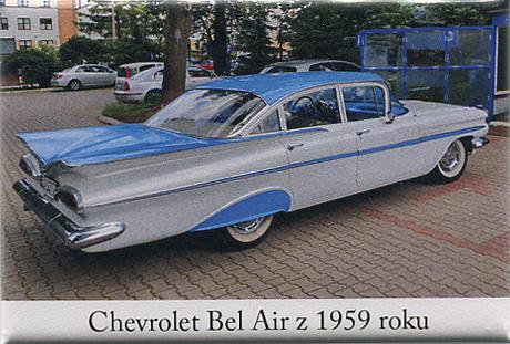Magnes z wizerunkiem chevroleta Bel air z 1959 r.