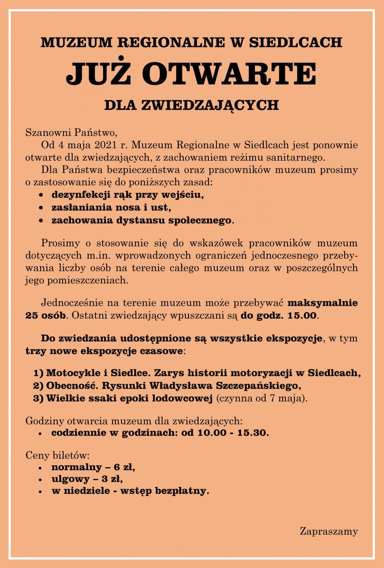 Ogłoszenie z informacją o otwarciu muzeum od 4 maja